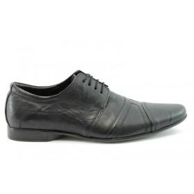 Спортно-елегантни мъжки обувки - естествена кожа - черни - EO-55