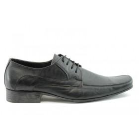 Спортно-елегантни мъжки обувки - естествена кожа - черни - EO-279