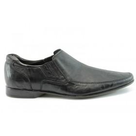 Спортно-елегантни мъжки обувки - естествена кожа - черни - EO-281