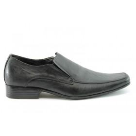 Спортно-елегантни мъжки обувки - естествена кожа - черни - EO-282