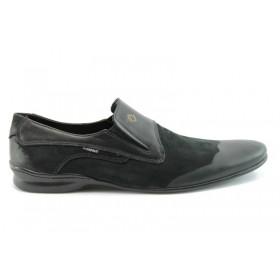 Спортно-елегантни мъжки обувки - естествена кожа с естествен велур - черни - EO-284