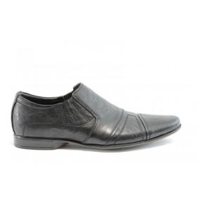 Спортно-елегантни мъжки обувки - естествена кожа - черни - EO-337