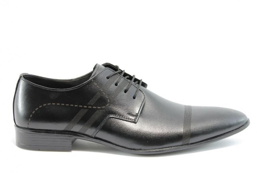 Мъжки обувки - естествена кожа - черни - EO-361