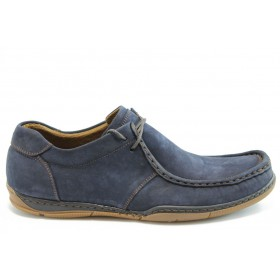 Мъжки обувки - естествен набук - сини - EO-2065