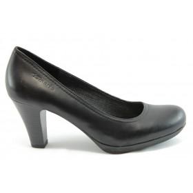Дамски обувки на висок ток - естествена кожа - черни - EO-1836