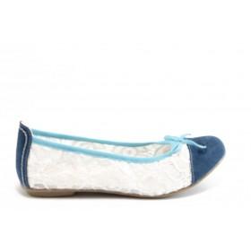 Равни дамски обувки - дантела - бели - EO-2916