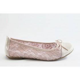 Равни дамски обувки - дантела - розови - EO-2970