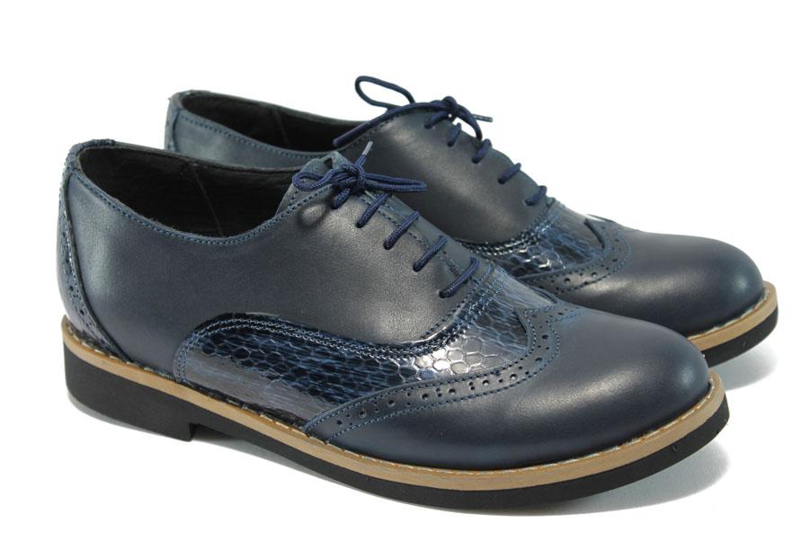 719dc7bddba Равни дамски обувки - естествена кожа - сини - EO-5890