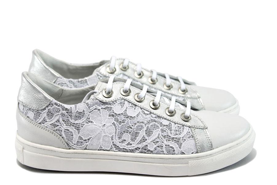 35900881207 Дамски спортни обувки - естествена кожа в съчетание с текстил - бели -  EO-8540