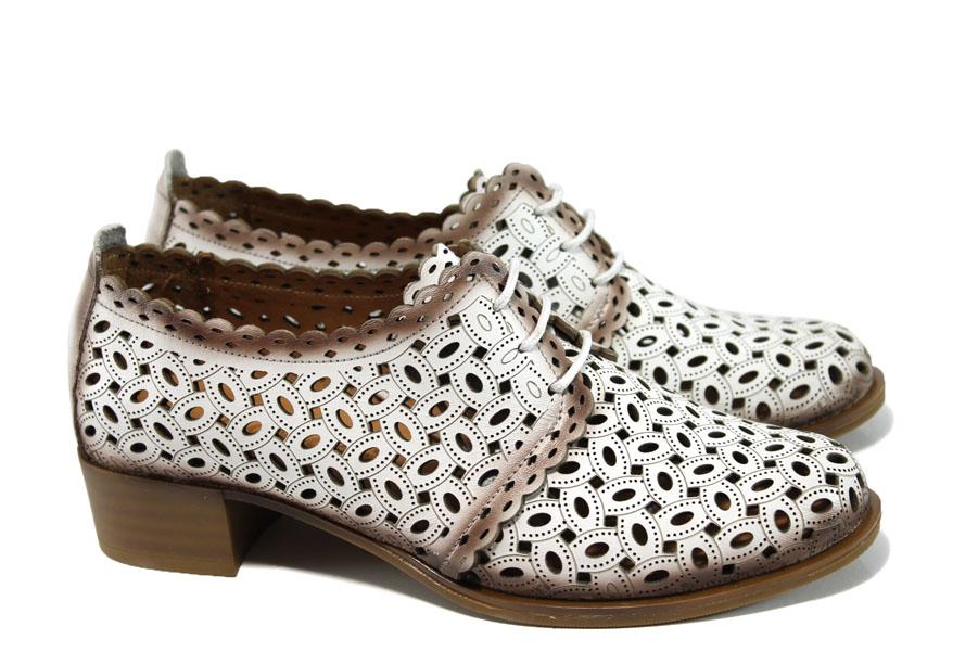ea107c83cfe Дамски обувки на среден ток - естествена кожа с перфорация - бели - EO-9954